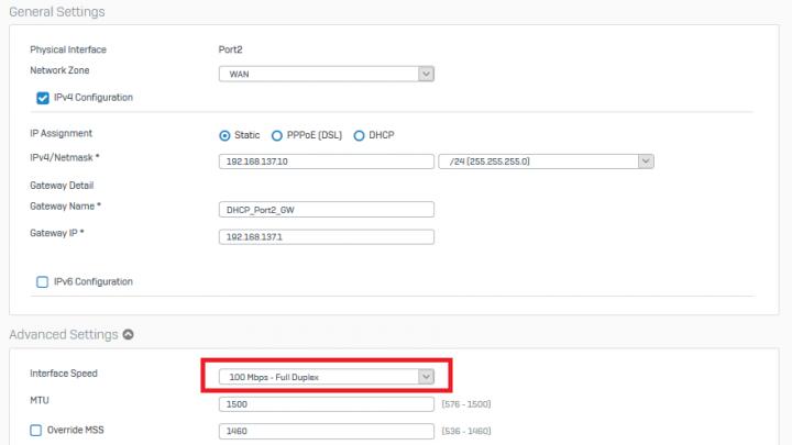 Sophos XG Firewall Port Hızı Değiştirme