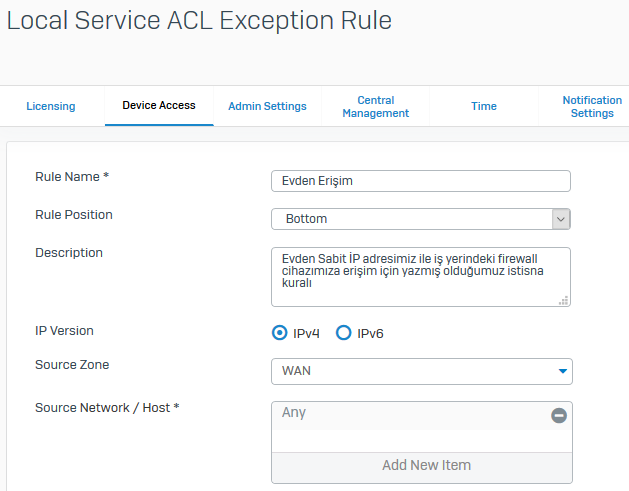 local service ACL Exception