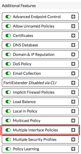 Multiple Interface Policies.