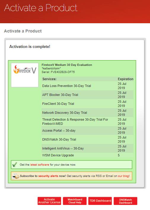 WatchGuard Firebox Lisans Aktifleştirme