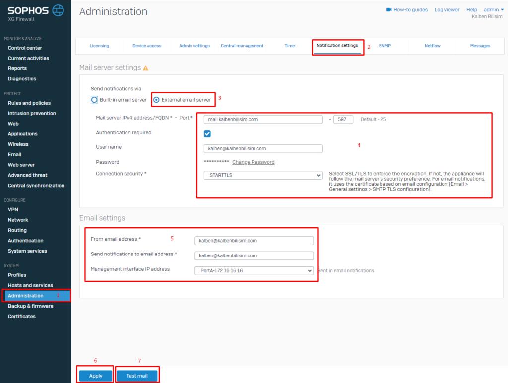 E-posta bildirimi için posta sunucusu ayarları nasıl yapılandırılır