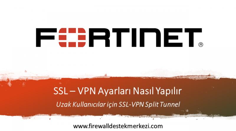 Fortigate Uzak Kullanıcılar için SSL-VPN Split Tunnel